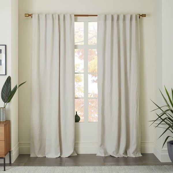 West Elm Belgian Flax Linen Curtain - Natural