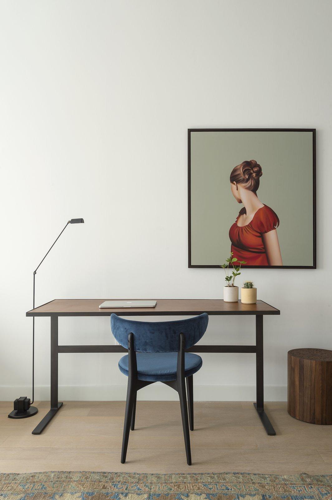 Office, Light Hardwood Floor, Rug Floor, Lamps, Study Room Type, Chair, and Desk  ROOST Apartment Hotel