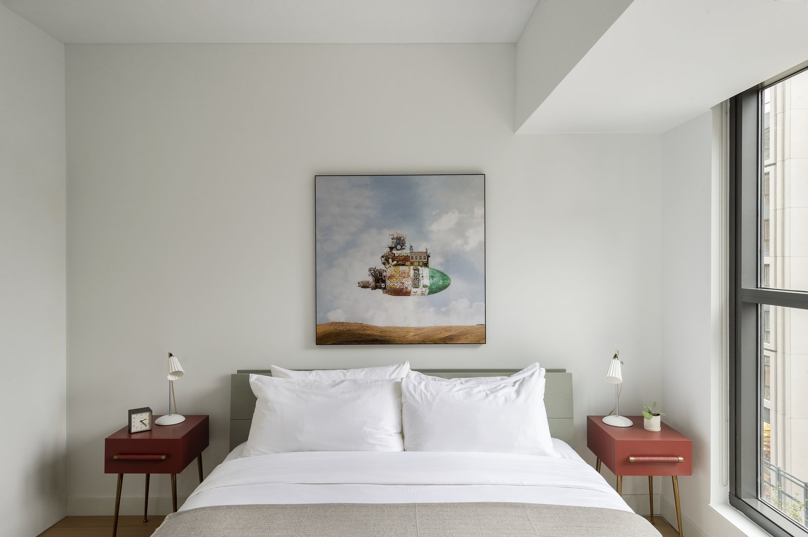 Bedroom, Table Lighting, Lamps, Bed, Night Stands, and Medium Hardwood Floor  ROOST Apartment Hotel
