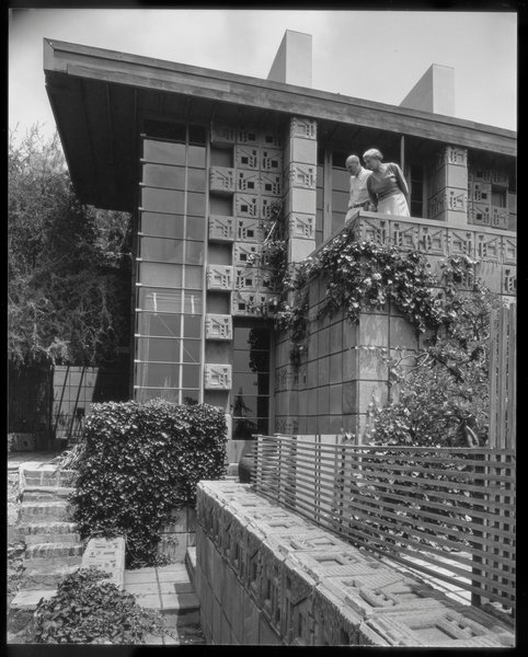 The Samuel Freeman House is one of the four textile block houses designed by Frank Lloyd Wright in California in the early '20s. The other three are the Storer House, Ennis House, and Millard House.  Photo by Julius Shulman © J. Paul Getty Trust. Getty Research Institute, Los Angeles (2004.R.10)