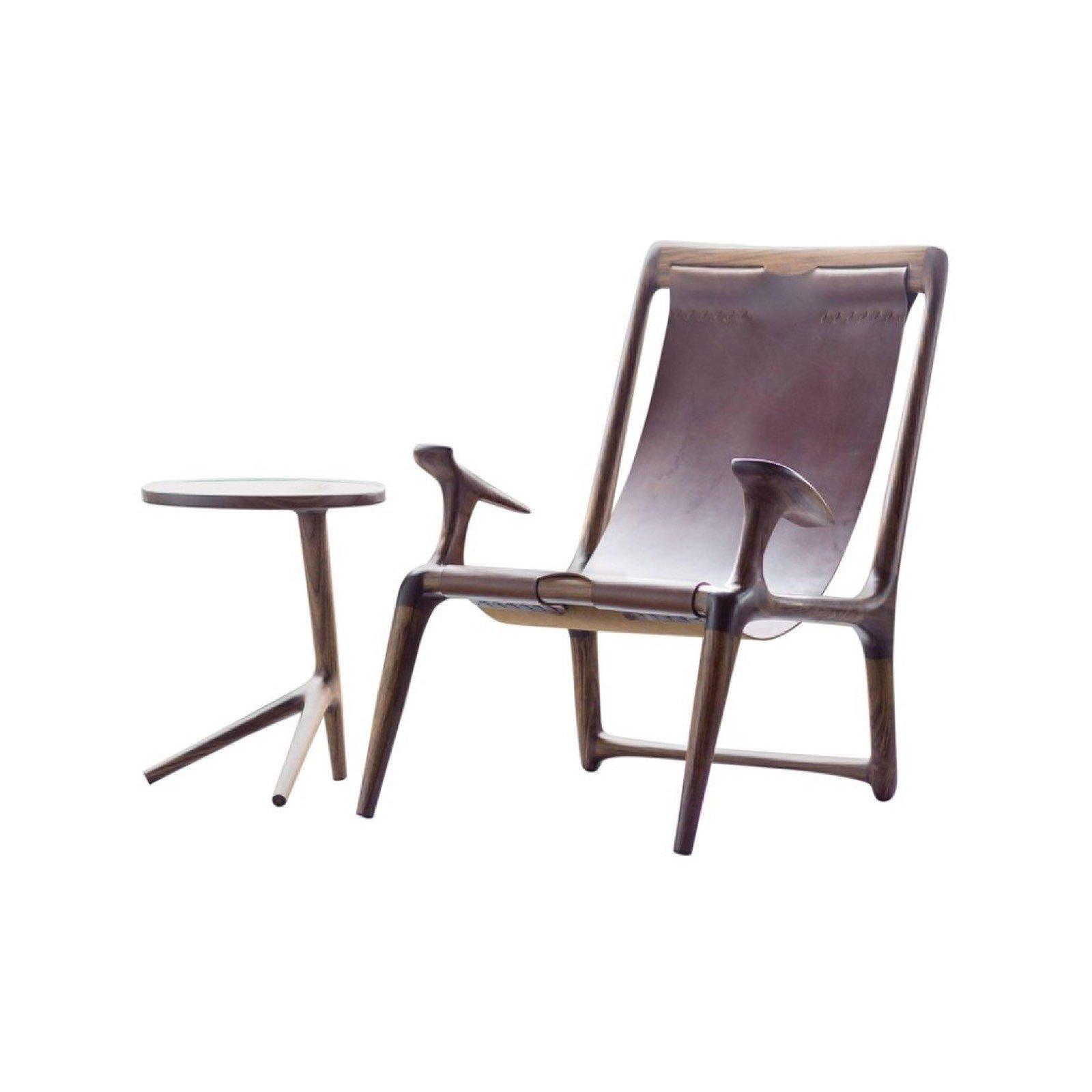 Fernweh Woodworking Walnut Leather Sling Chair By Fernweh