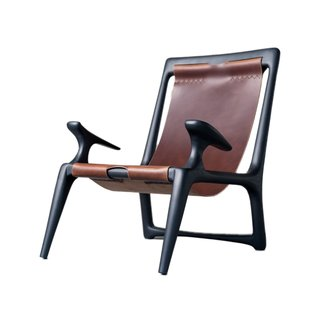 The Charcoal Ash and Leather Sling Chair