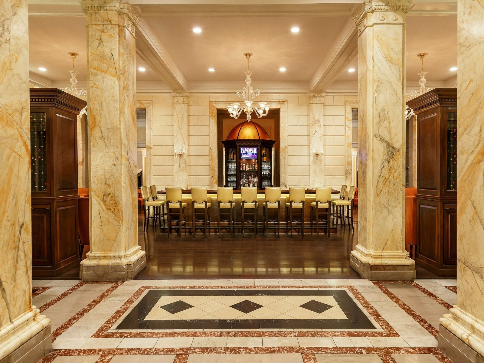 Dining Room, Table, Recessed Lighting, Pendant Lighting, and Stools  Jefferson Hotel