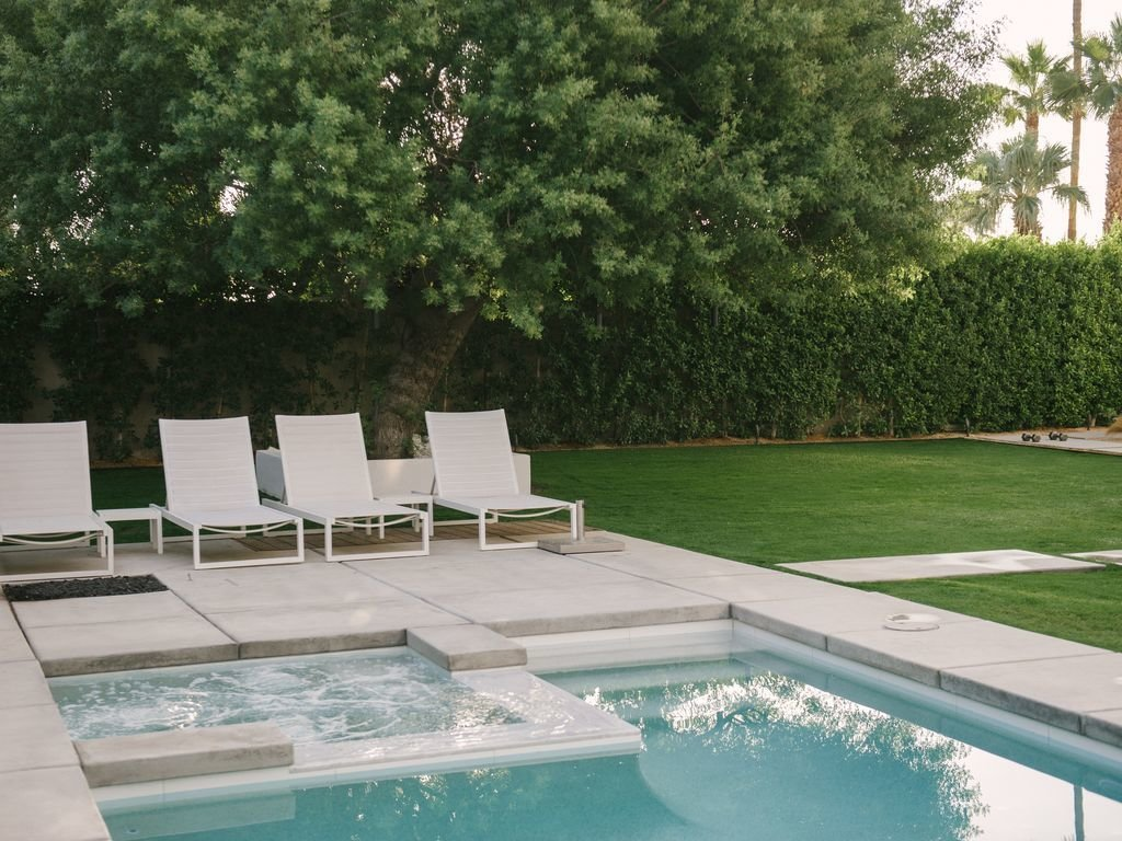 Outdoor, Back Yard, Hardscapes, Large Patio, Porch, Deck, Swimming Pools, Tubs, Shower, Trees, Large Pools, Tubs, Shower, Grass, and Concrete Patio, Porch, Deck  Le Mode PS