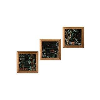 Drew Barrymore Flower Home Bamboo Lake Night Framed Wall Art - Set of 3