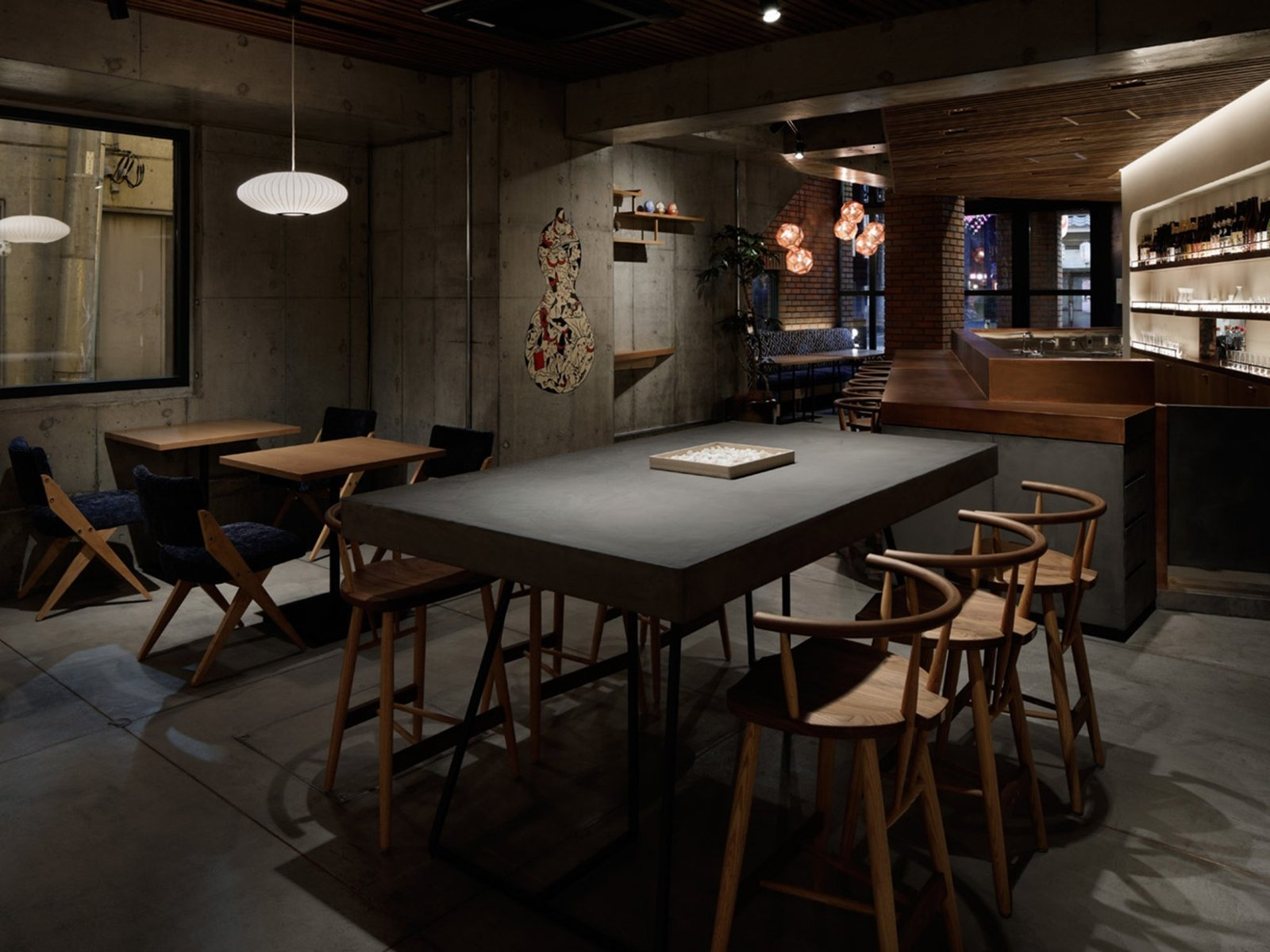 Dining Room, Stools, Bar, Table, Pendant Lighting, and Chair  Wired Hotel Asakusa
