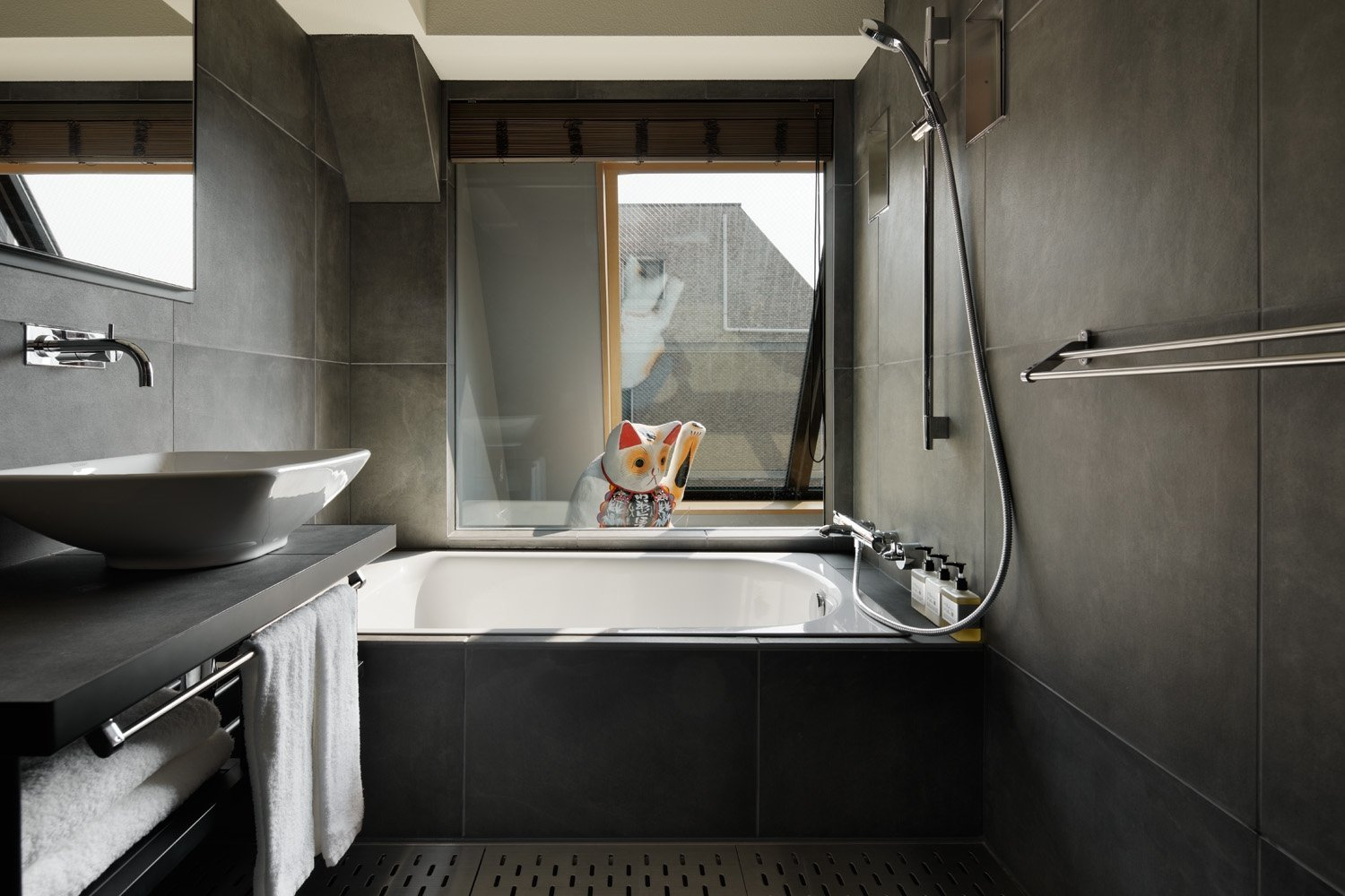 Bath Room, Vessel Sink, Soaking Tub, and Open Shower  Wired Hotel Asakusa