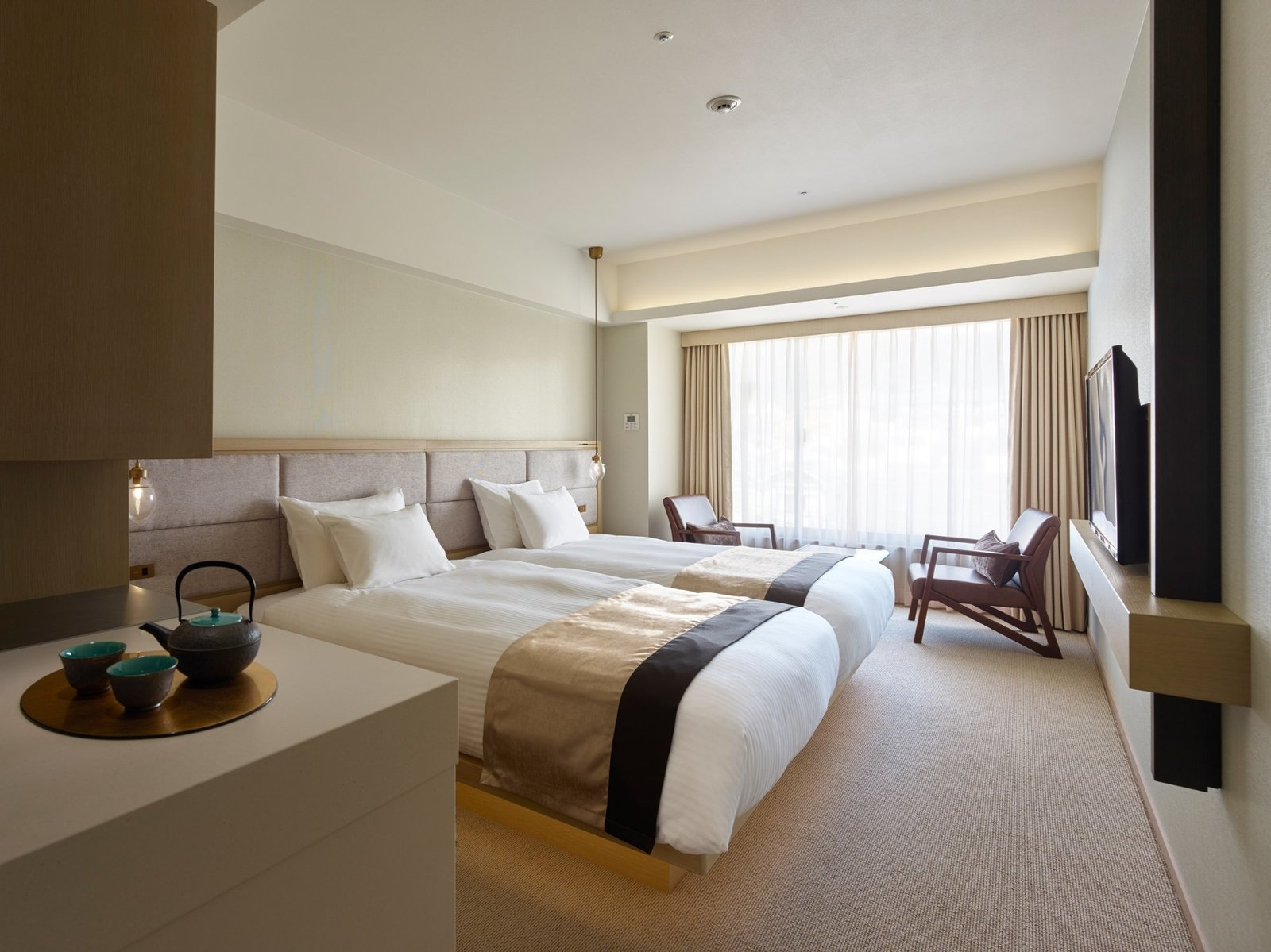 Bedroom, Pendant Lighting, Carpet Floor, Bed, and Chair  Hotel The Celestine Kyoto Gion