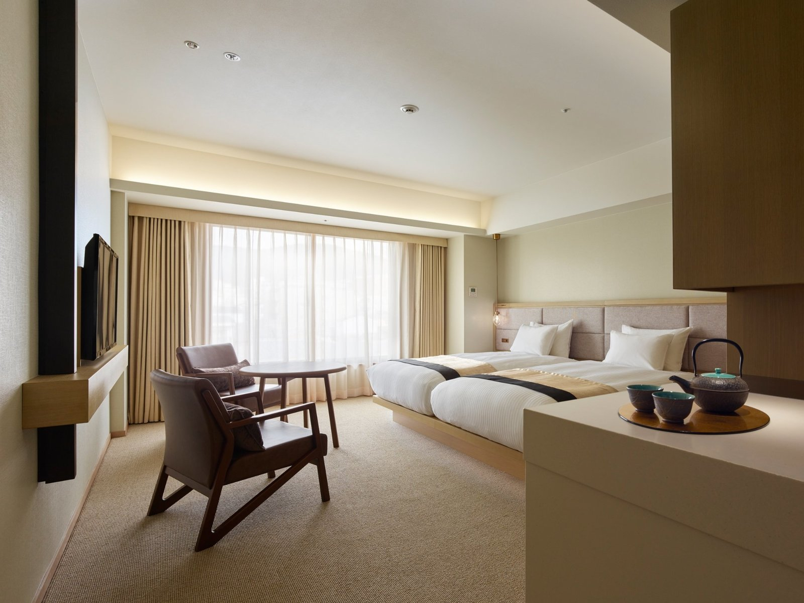 Bedroom, Pendant Lighting, Chair, Bed, and Carpet Floor  Hotel The Celestine Kyoto Gion