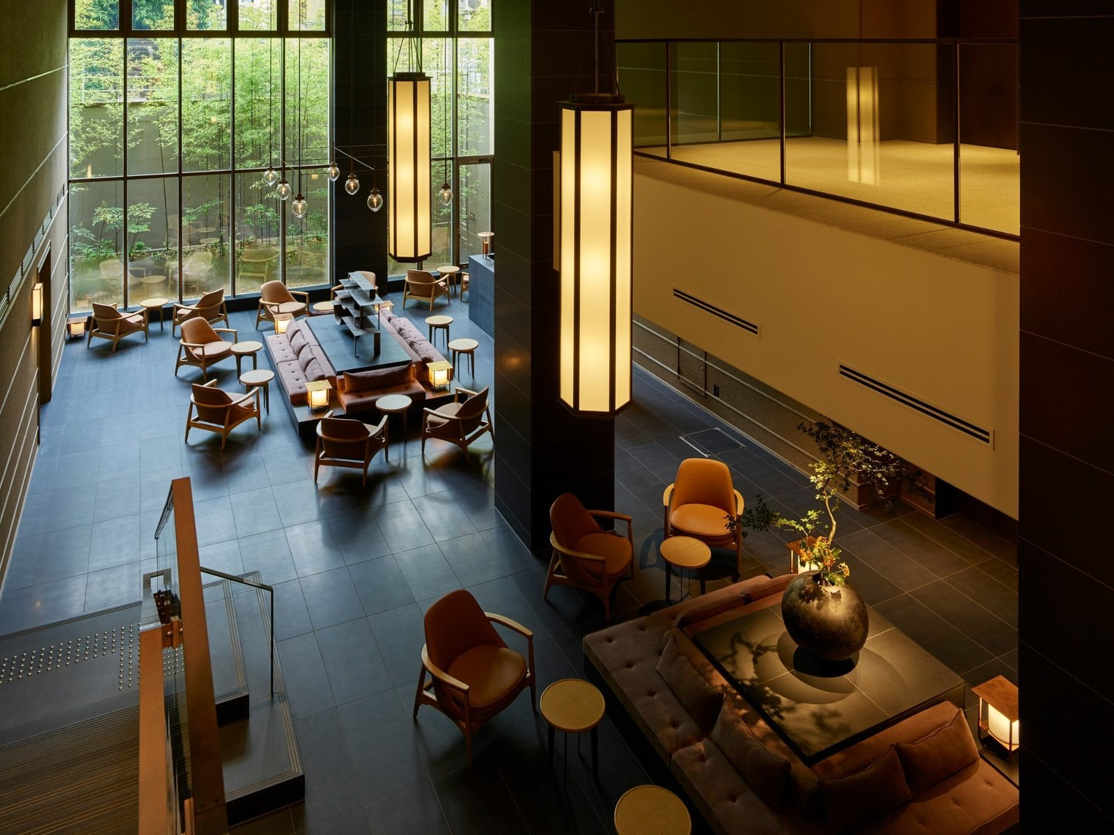 Living Room, Chair, Pendant Lighting, Bench, and End Tables  Hotel The Celestine Kyoto Gion