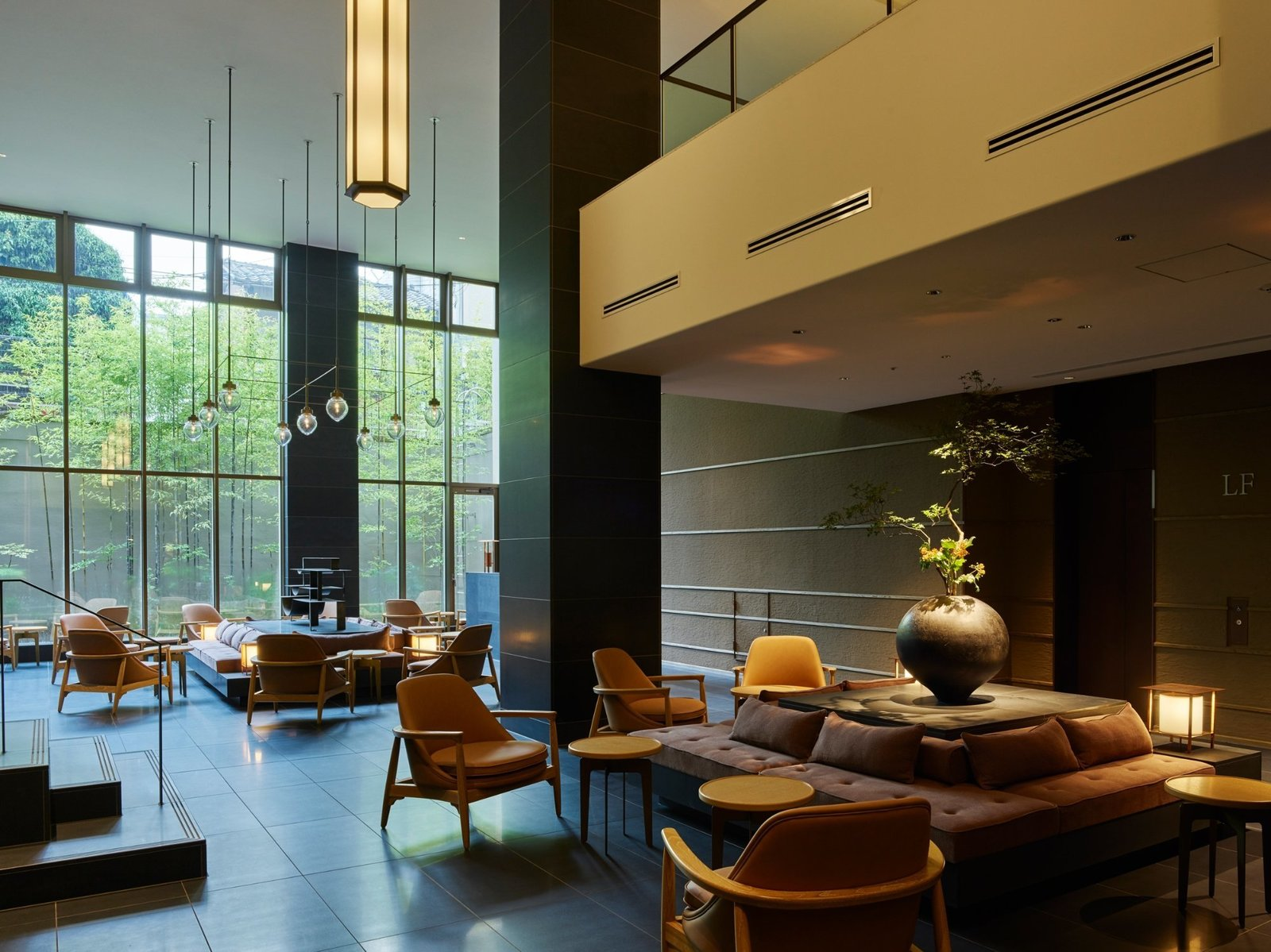 Living Room, Bench, Chair, End Tables, and Pendant Lighting  Hotel The Celestine Kyoto Gion