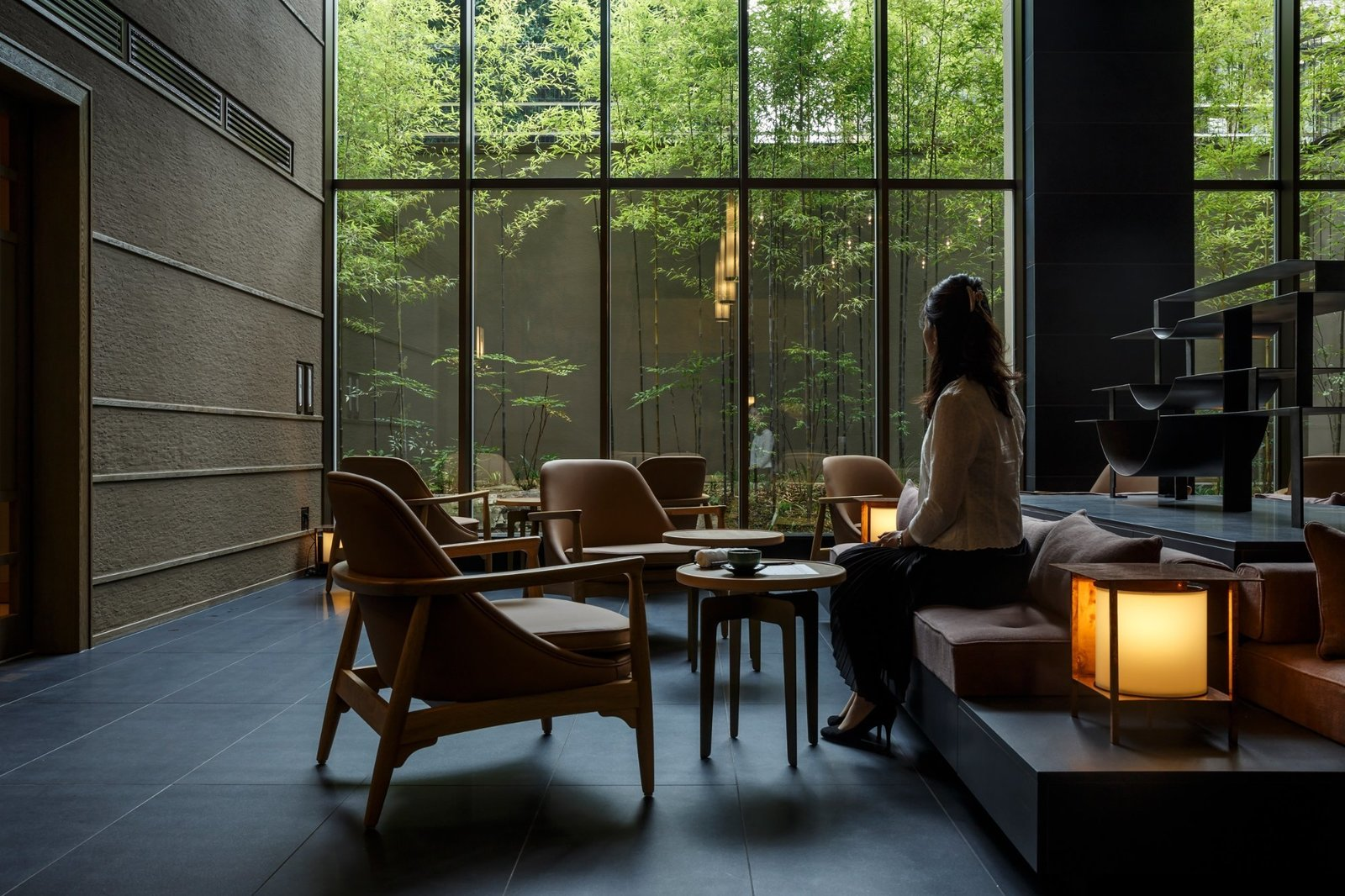 Living Room, Coffee Tables, Chair, Bench, and Table Lighting  Hotel The Celestine Kyoto Gion