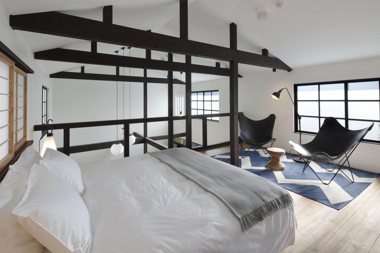 Bedroom, Rug, Medium Hardwood, Floor, Table, Bed, and Chair  Best Bedroom Medium Hardwood Floor Table Bed Rug Photos from Kyomachiya Hotel Shiki Juraku