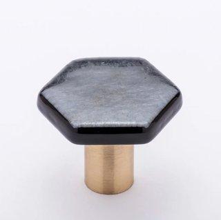 Sietto Hexagon Cabinet Knob With Irid Silver Black Glass