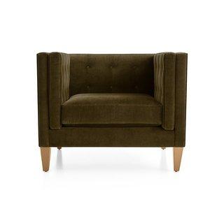 "Crate & Barrel Aidan Velvet 38"" Tufted Chair"
