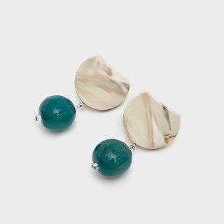 Rachel Comey Hoon Drop Earrings in Bone Marble-Emerald