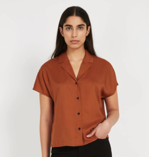 Frank And Oak TENCEL Everyday Camp Collar Blouse - Ginger