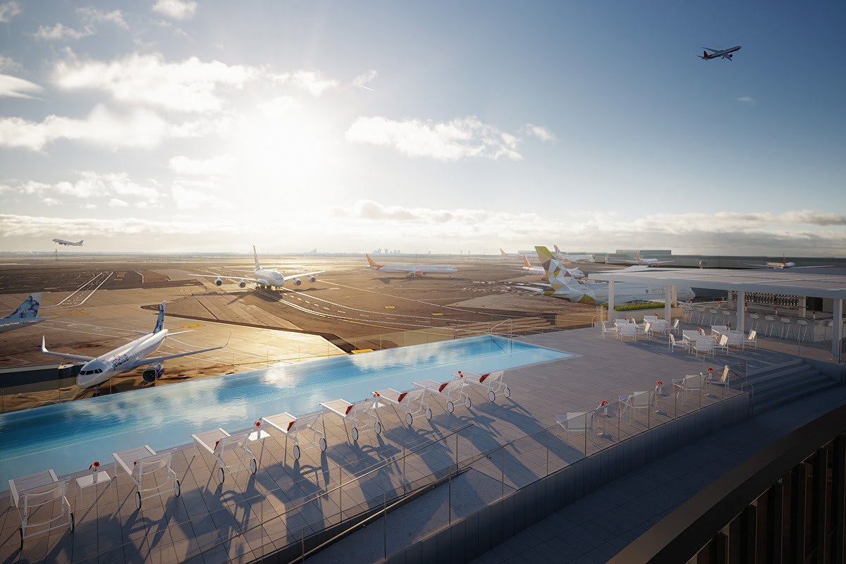 Photo 1 of 2 in The New Infinity Pool at JFK's TWA Hotel Is Making Us Consider a Vacation at the Airport