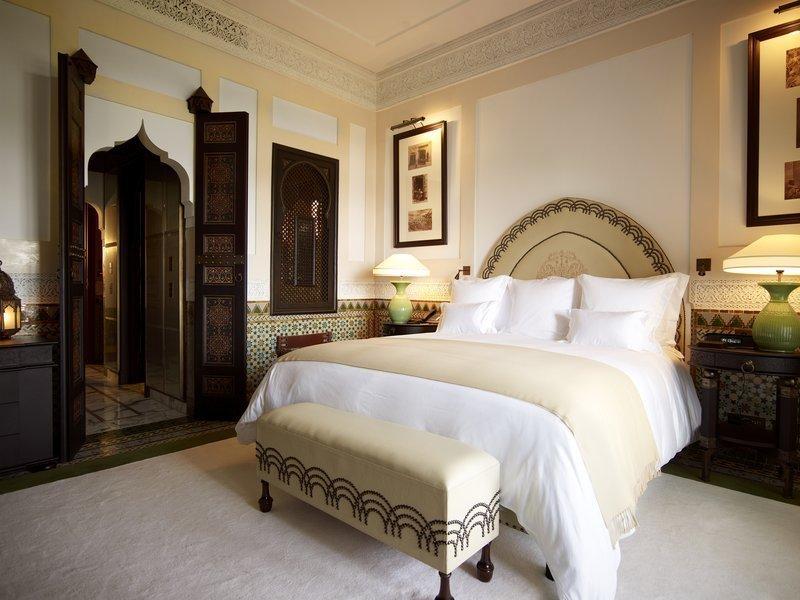 Bedroom, Lamps, Rug Floor, Table Lighting, Ceramic Tile Floor, Bed, and Night Stands  La Mamounia