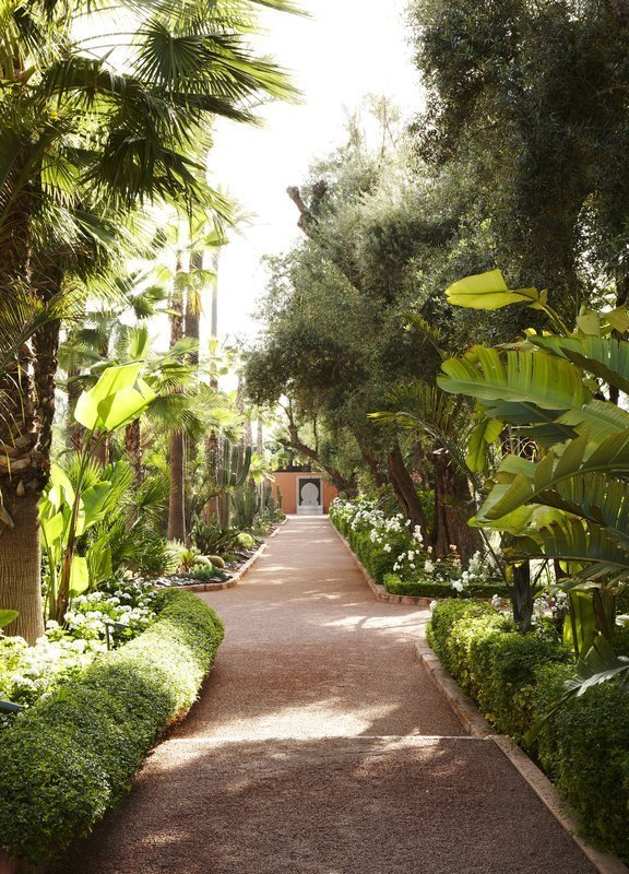 Outdoor, Hardscapes, Walkways, Shrubs, Large Patio, Porch, Deck, Side Yard, and Trees  La Mamounia