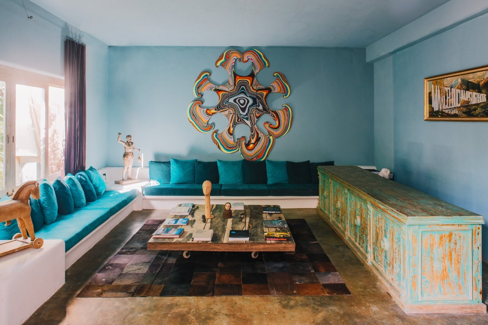 Living Room, Console Tables, Bench, Coffee Tables, Sofa, Concrete Floor, and Rug Floor  Casa Malca
