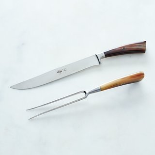 Match Berti I Forgiati Carving & Serving Set with Ox Horn Handles