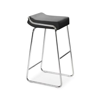 Zuo Modern Set of Two Wedge Chrome Steel Barstools