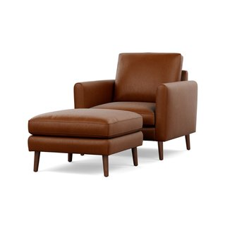 Burrow Chestnut Nomad Club Chair with Ottoman