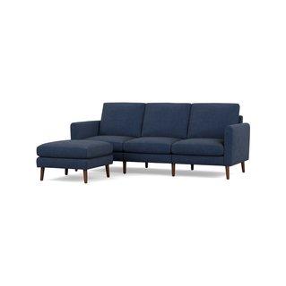 Burrow Nomad Navy Blue Fabric Sofa with Ottoman