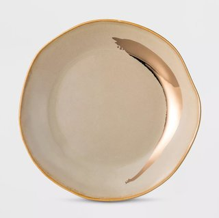 Cravings by Chrissy Teigen Stoneware Dessert Plate Gray/Gold Swoosh
