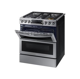 "Samsung 30"" Wide Slide-In Gas Range With Dual Doors"