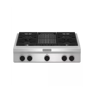 "KitchenAid 36"" Wide Commercial Style Gas Rangetop with EvenHeat Grill"