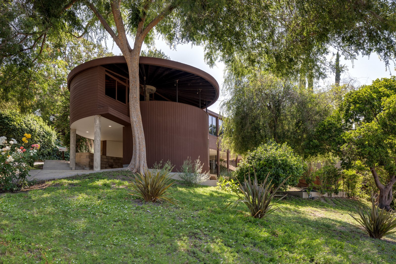 Exterior, House Building Type, Flat RoofLine, and Wood Siding Material  Photo 1 of 8 in Claim This Curvaceous L.A. Home by John Lautner For $1.6M