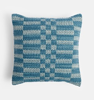 Rejuvenation Handwoven Wool Check Pillow Cover