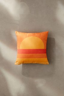 Alisa Galitsyna For Deny Retro Geometric Sunset Outdoor Throw Pillow