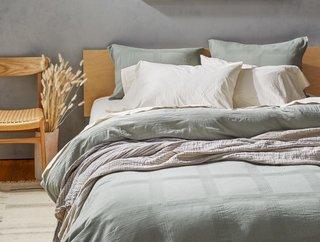 Coyuchi Indio Textured Grid Organic Duvet Cover