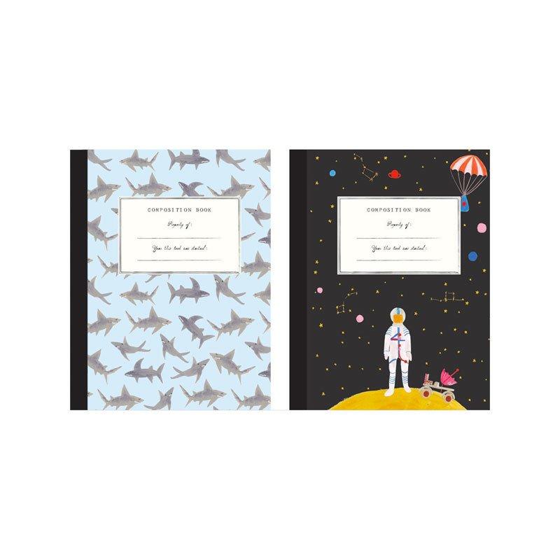 Mr. Boddington's Studio Set of 2 Composition Notebooks, Space/Sharks