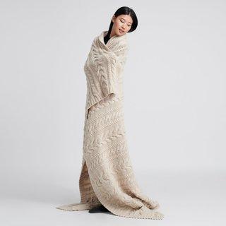 Naadam Chunky Wool Blanket Oatmeal