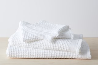 Allswell Stonewashed Waffle Towels - White