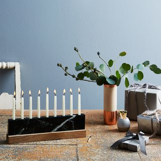 JK Adams Vermont Green Marble & Walnut Menorah
