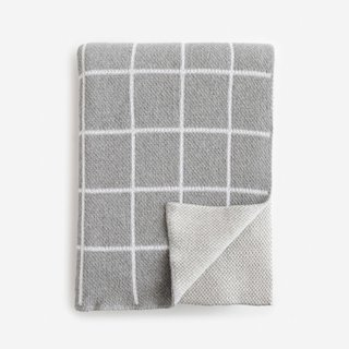 Grid Gray Knit Throw Blanket