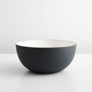 Enamel Matte Black Serving Bowl