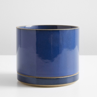 Hasami Gloss Blue Large Planter and Saucer Set
