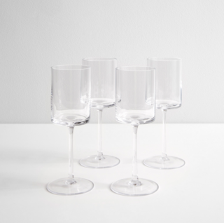 LSA International Otis White Wine Glasses Set of Four
