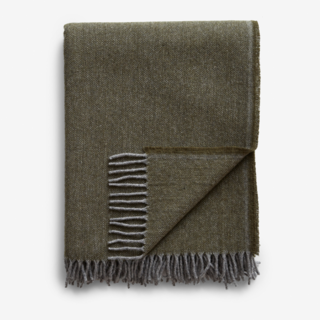 Jackson Olive Wool Throw Blanket