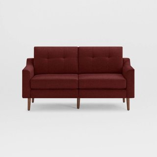Burrow Nomad Brick Red Fabric Loveseat