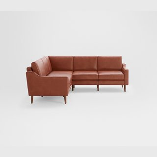 Burrow Nomad Chestnut Leather 5-Seat Corner Sectional
