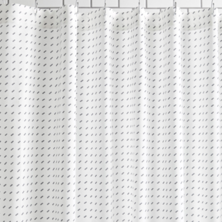 Stitch White+ Pewter Shower Curtain