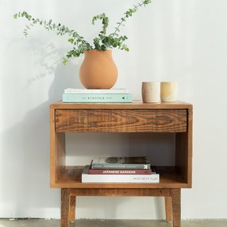 Avocado Green Natural Reclaimed Wood End Table
