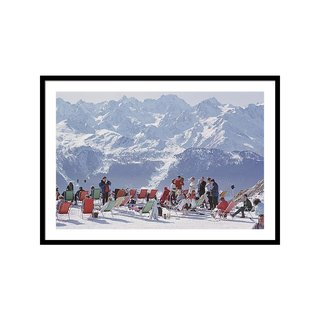 Lounging In Verbier by Slim Aarons Art Framed Print